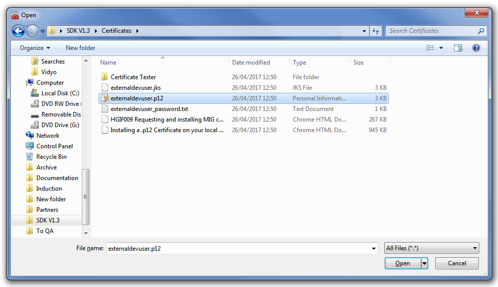 Installing a  p12 Certificate on a Local Machine - Healthcare Gateway